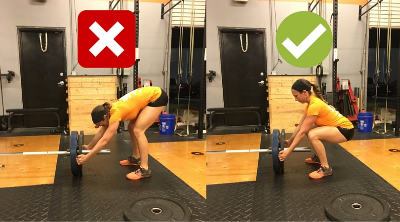 Lumbar flexion occurs commonly when stripping the bar. The bending plus the lifting of the bar to strip the weight can be awkward on the lower spine.  Some can straighten the back and pull off the weight like the picture above. Alternatively, a straight leg hip hinge can be used without lumbar bending.