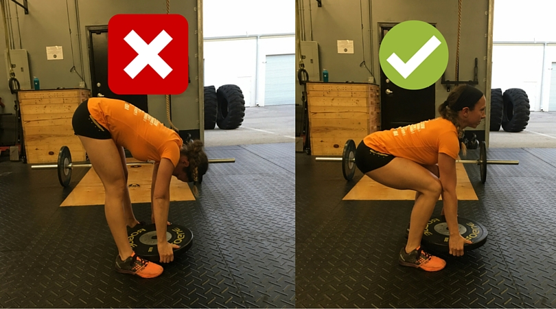 People often bend down from their knees and their back to pick up weights from the ground. With these weights, the bending isn't as much of the problem as the lack of abdominal and lat bracing. Bringing a flat back can cue bracing strategies easier and treat the lift as a deadlift instead of a sloppy forward bend.
