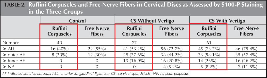 Patients with vertigo had significantly more Ruffini Corpuscles in their degenerated discs than the non-vertigo and control group. What does this mean for dizzy patients?